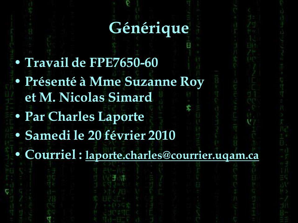 Générique Travail de FPE7650-60