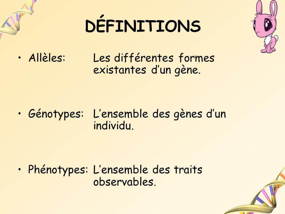 DÉFINITIONS Allèles: Les différentes formes existantes d'un gène.