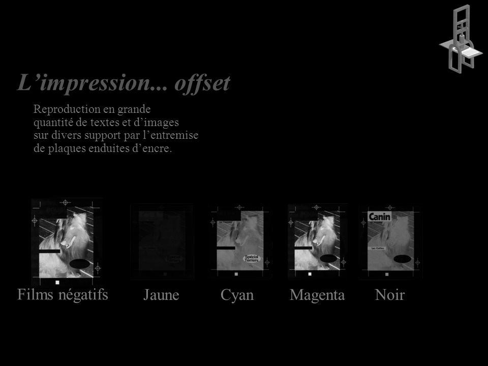 L'impression... offset Films négatifs Jaune Cyan Magenta Noir