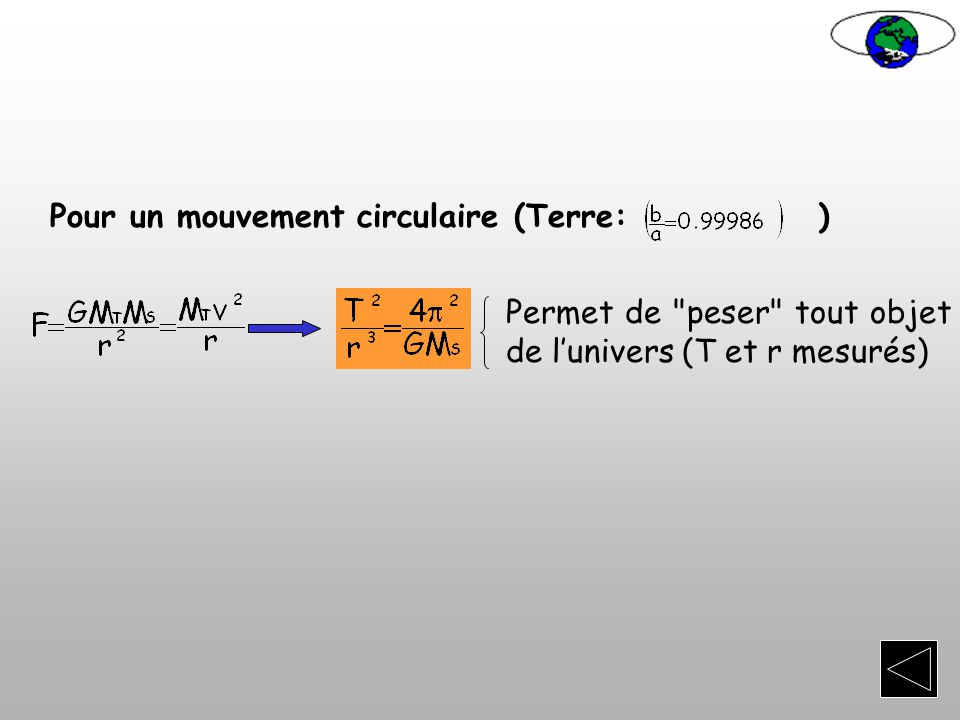 Pour un mouvement circulaire (Terre: )