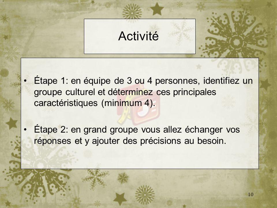 Activité Étape 1: en équipe de 3 ou 4 personnes, identifiez un groupe culturel et déterminez ces principales caractéristiques (minimum 4).