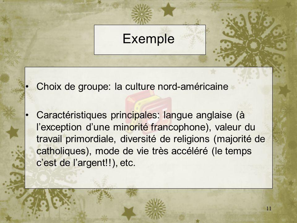 Exemple Choix de groupe: la culture nord-américaine