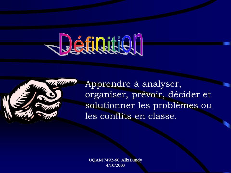 Définition Apprendre à analyser, organiser, prévoir, décider et solutionner les problèmes ou les conflits en classe.