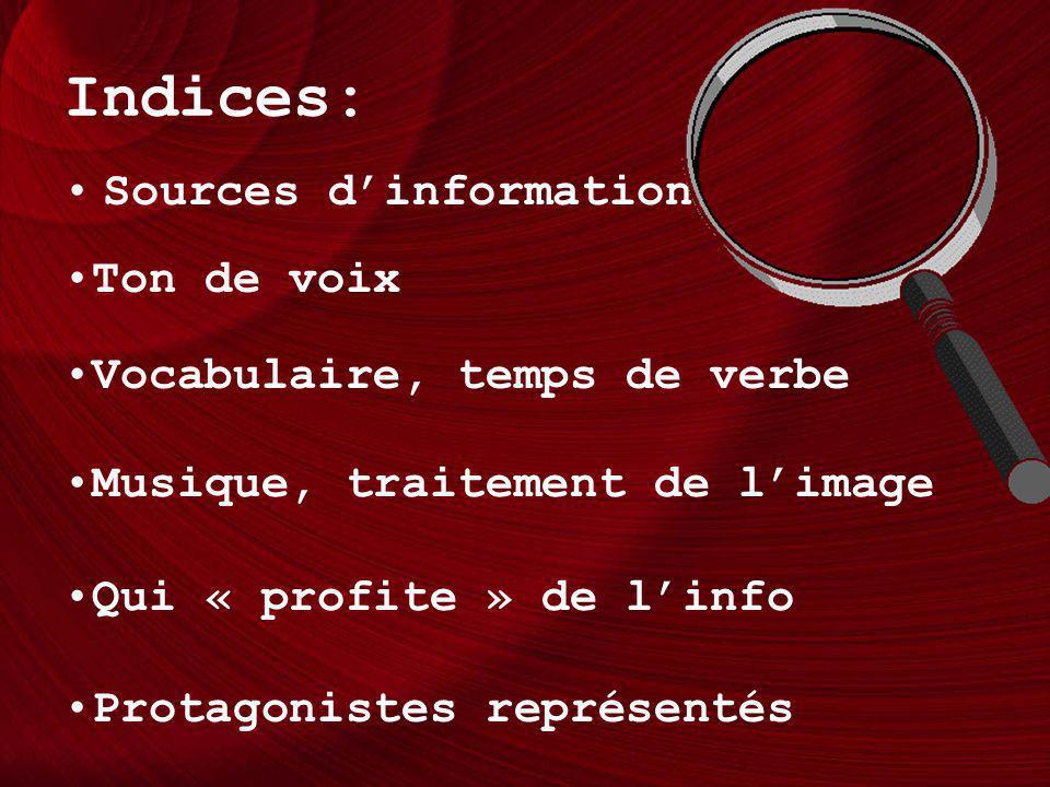 Indices: Sources d'information Ton de voix Vocabulaire, temps de verbe