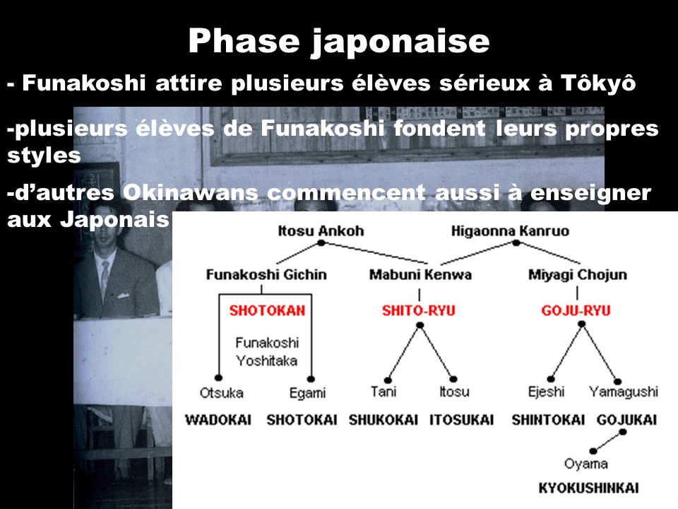 Phase japonaise - Funakoshi attire plusieurs élèves sérieux à Tôkyô