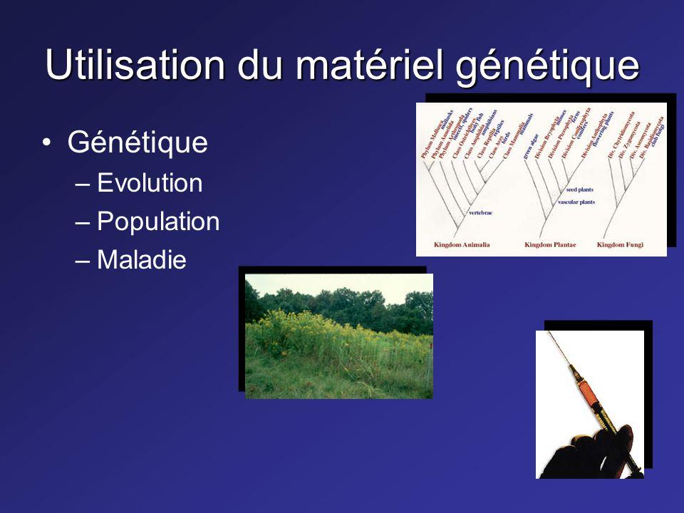 Utilisation du matériel génétique