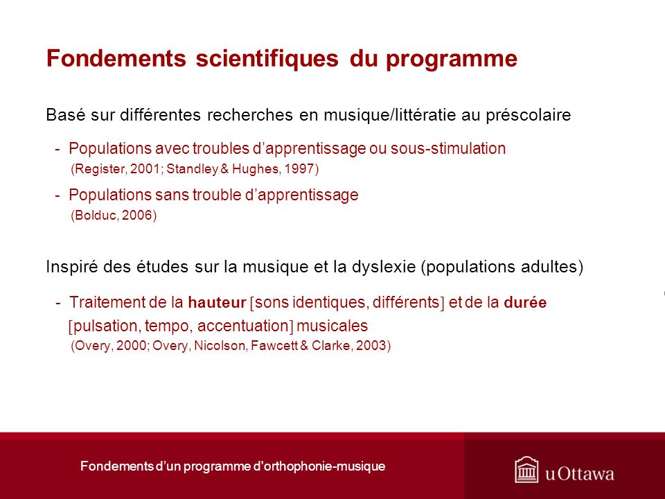 Fondements scientifiques du programme