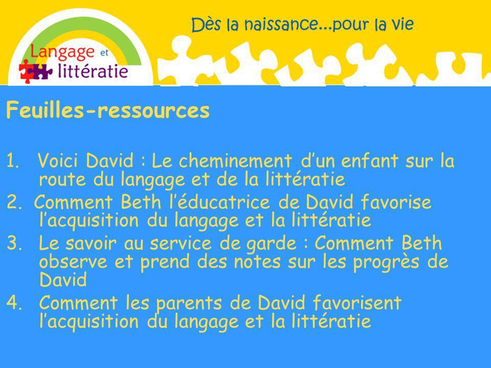 Feuilles-ressources 1. Voici David : Le cheminement d'un enfant sur la route du langage et de la littératie.