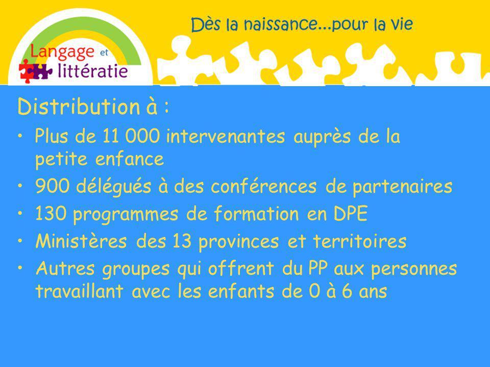 Distribution à : Plus de 11 000 intervenantes auprès de la petite enfance. 900 délégués à des conférences de partenaires.