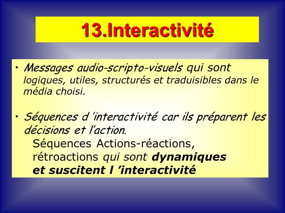13.Interactivité Messages audio-scripto-visuels qui sont logiques, utiles, structurés et traduisibles dans le média choisi.
