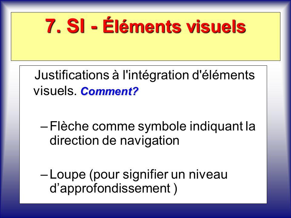 7. SI - Éléments visuels Justifications à l intégration d éléments visuels. Comment Flèche comme symbole indiquant la direction de navigation.