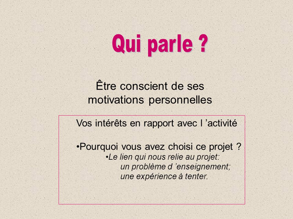 motivations personnelles