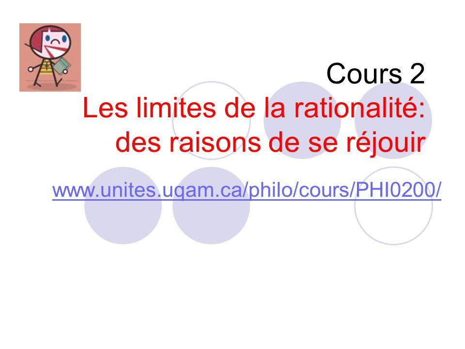 Cours 2 Les limites de la rationalité: des raisons de se réjouir
