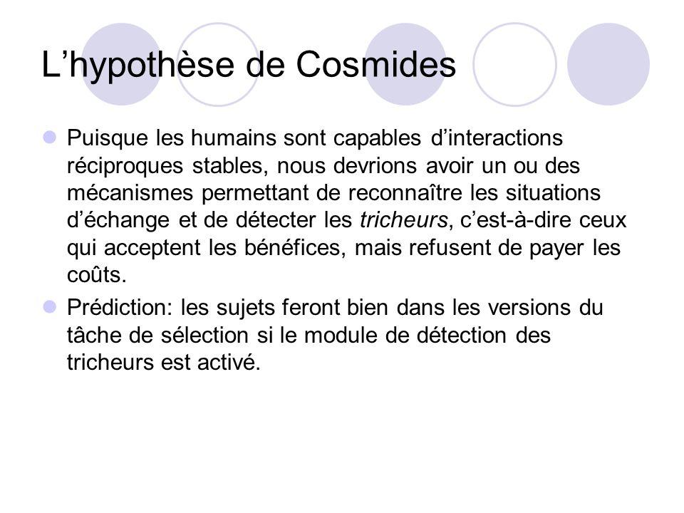 L'hypothèse de Cosmides