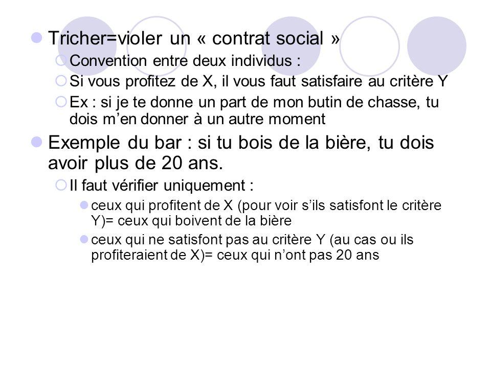 Tricher=violer un « contrat social »