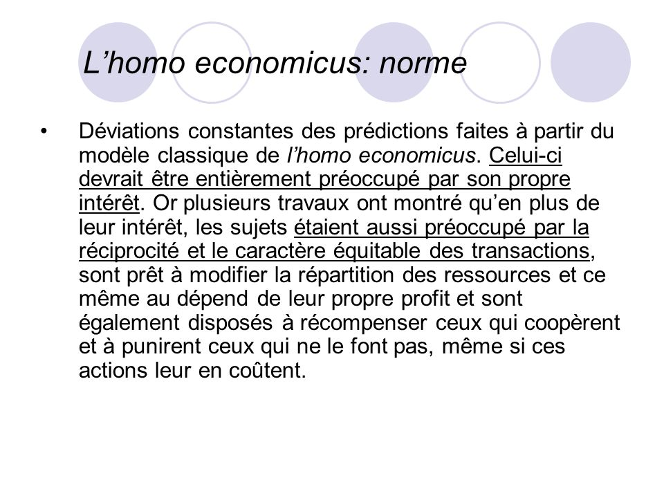 L'homo economicus: norme