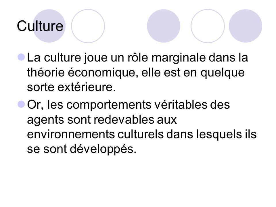 Culture La culture joue un rôle marginale dans la théorie économique, elle est en quelque sorte extérieure.