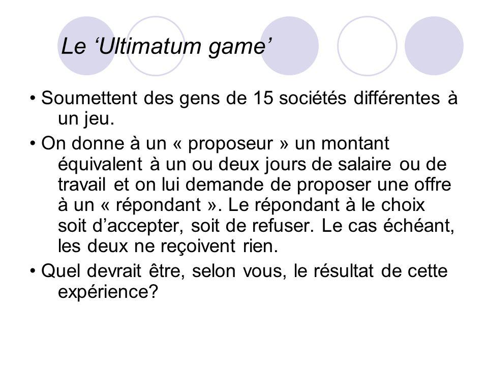 Le 'Ultimatum game' • Soumettent des gens de 15 sociétés différentes à un jeu.