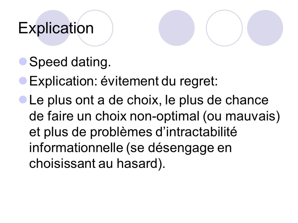 Explication Speed dating. Explication: évitement du regret: