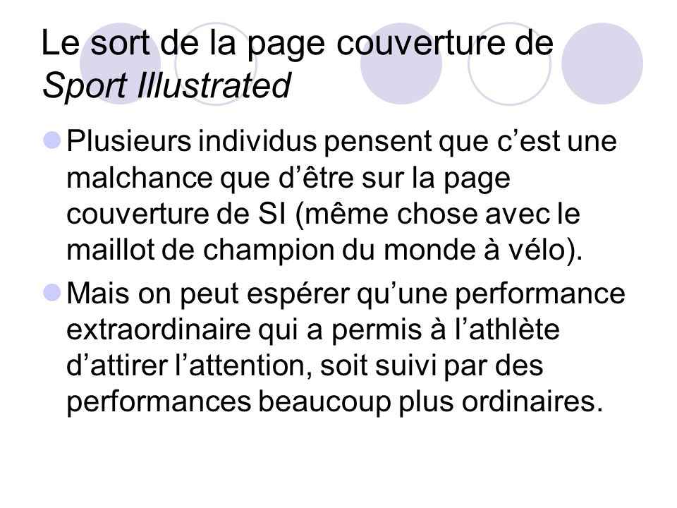 Le sort de la page couverture de Sport Illustrated
