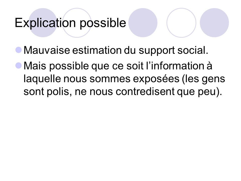 Explication possible Mauvaise estimation du support social.