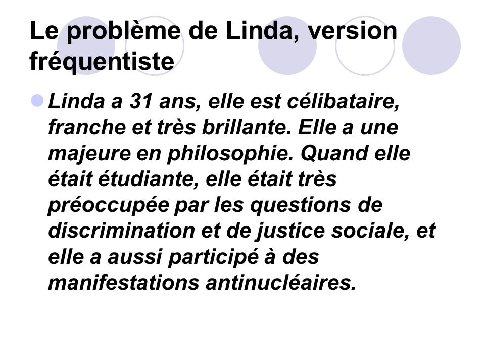 Le problème de Linda, version fréquentiste