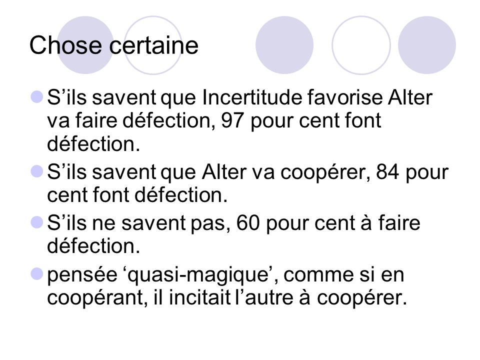 Chose certaine S'ils savent que Incertitude favorise Alter va faire défection, 97 pour cent font défection.