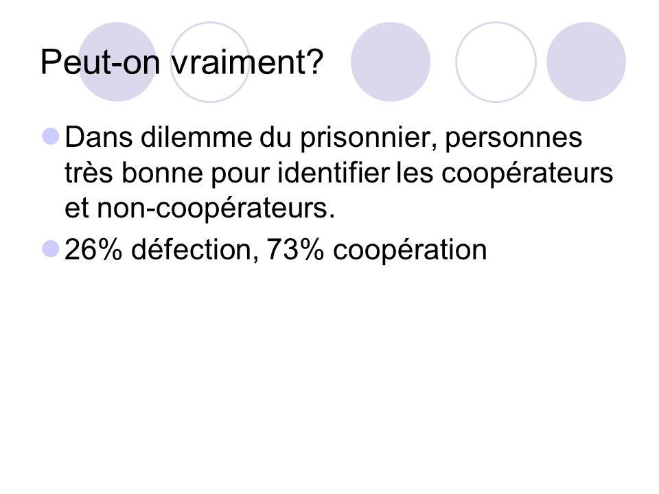 Peut-on vraiment Dans dilemme du prisonnier, personnes très bonne pour identifier les coopérateurs et non-coopérateurs.