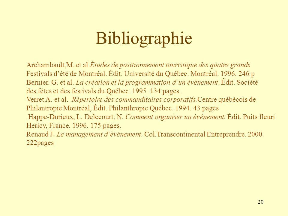 Bibliographie Archambault,M. et al.Études de positionnement touristique des quatre grands.