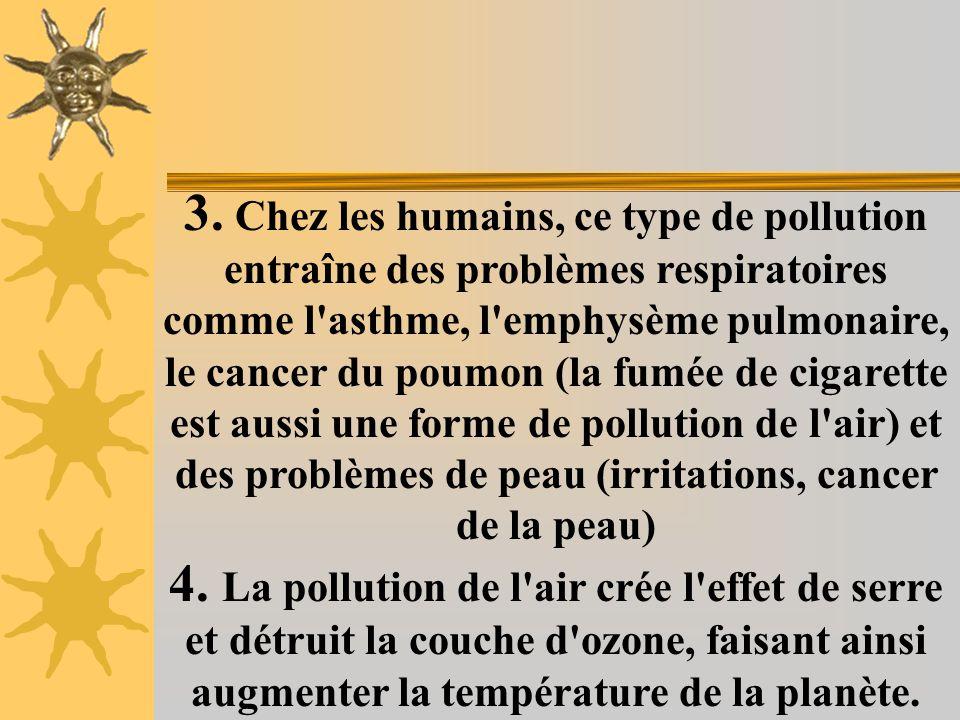 3. Chez les humains, ce type de pollution entraîne des problèmes respiratoires comme l asthme, l emphysème pulmonaire, le cancer du poumon (la fumée de cigarette est aussi une forme de pollution de l air) et des problèmes de peau (irritations, cancer de la peau)