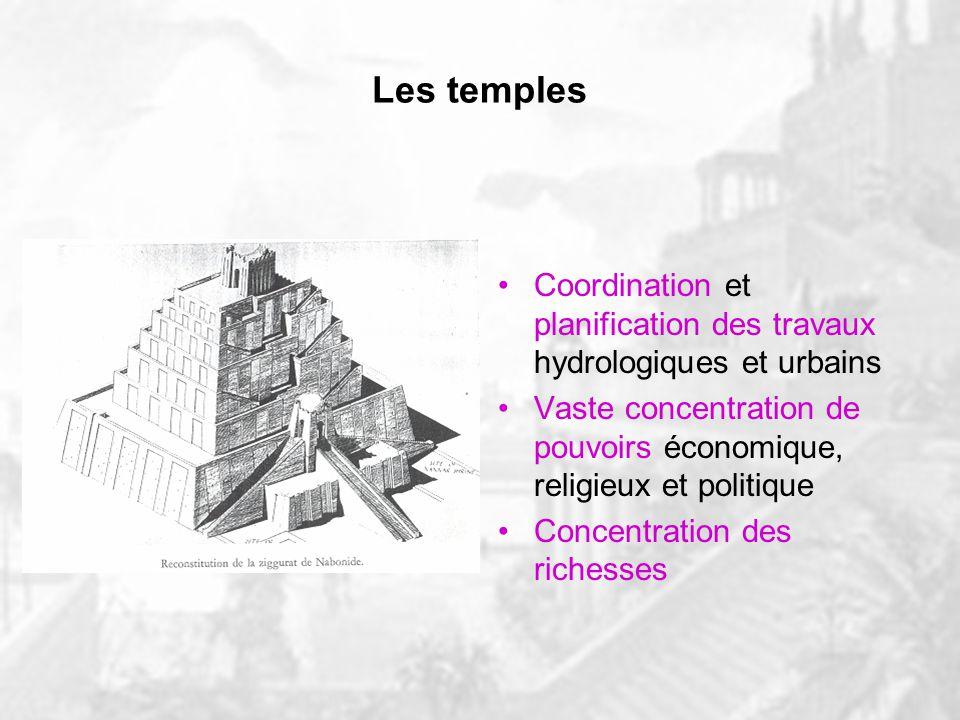 Les temples Coordination et planification des travaux hydrologiques et urbains. Vaste concentration de pouvoirs économique, religieux et politique.