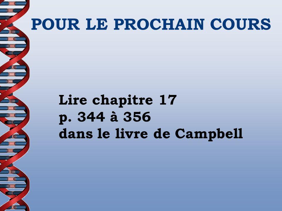 POUR LE PROCHAIN COURS Lire chapitre 17 p.