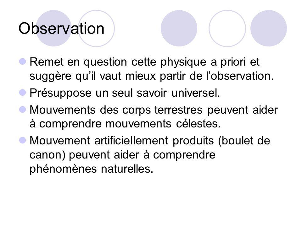 Observation Remet en question cette physique a priori et suggère qu'il vaut mieux partir de l'observation.