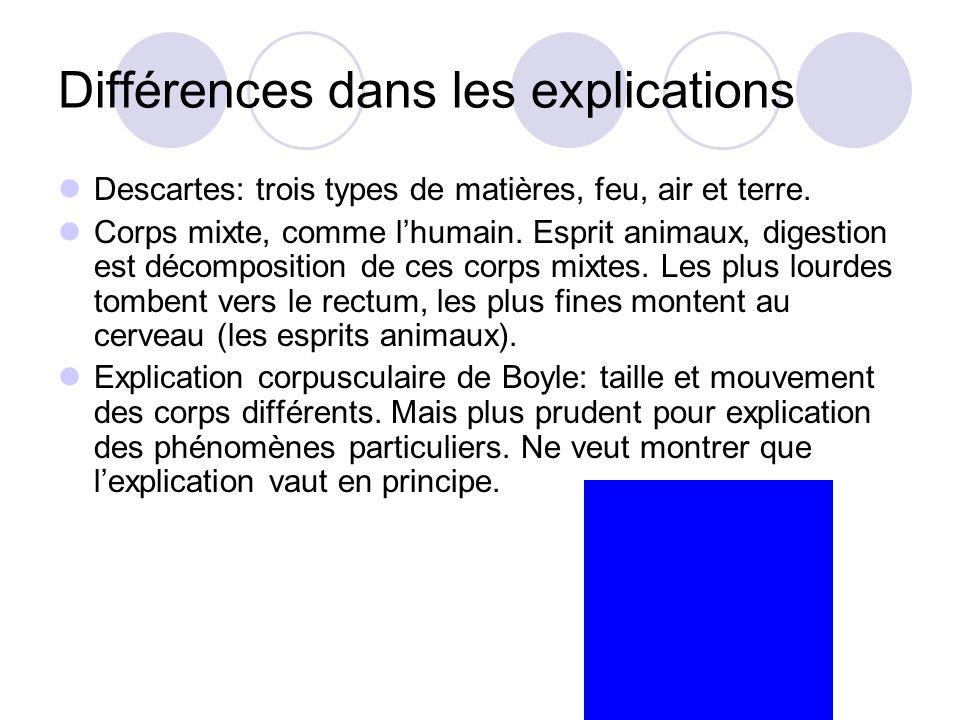 Différences dans les explications