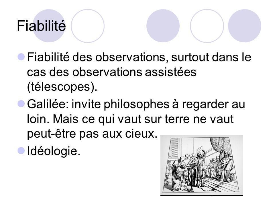 Fiabilité Fiabilité des observations, surtout dans le cas des observations assistées (télescopes).