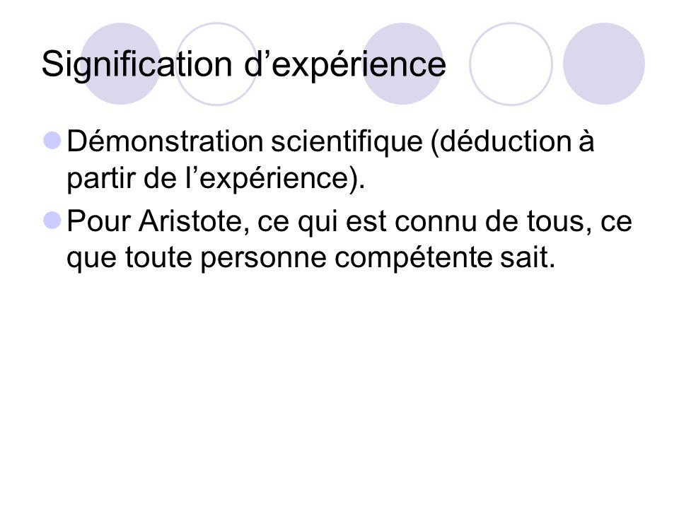 Signification d'expérience