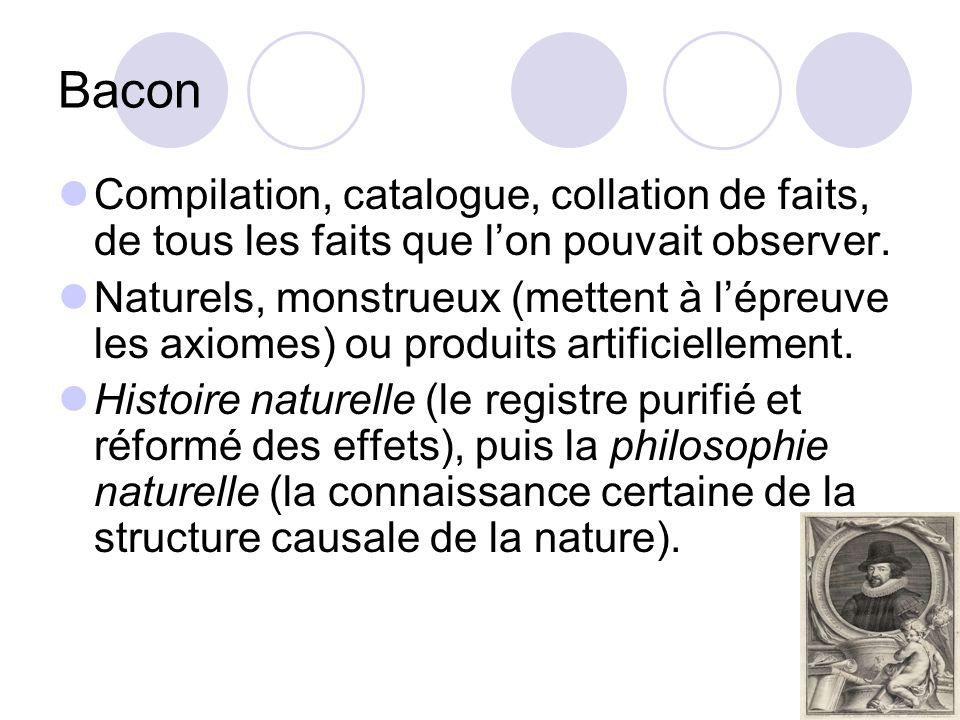 Bacon Compilation, catalogue, collation de faits, de tous les faits que l'on pouvait observer.
