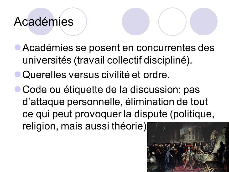 Académies Académies se posent en concurrentes des universités (travail collectif discipliné). Querelles versus civilité et ordre.