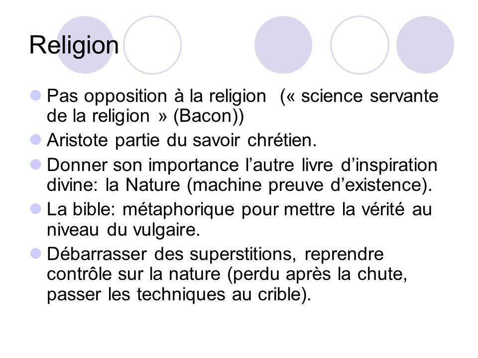 Religion Pas opposition à la religion (« science servante de la religion » (Bacon)) Aristote partie du savoir chrétien.