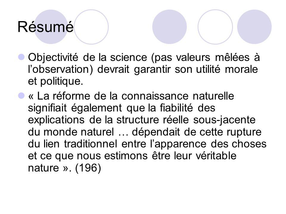 Résumé Objectivité de la science (pas valeurs mêlées à l'observation) devrait garantir son utilité morale et politique.