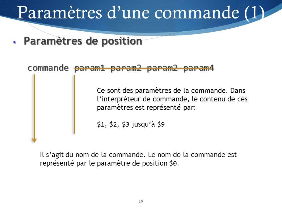 Paramètres d'une commande (1)