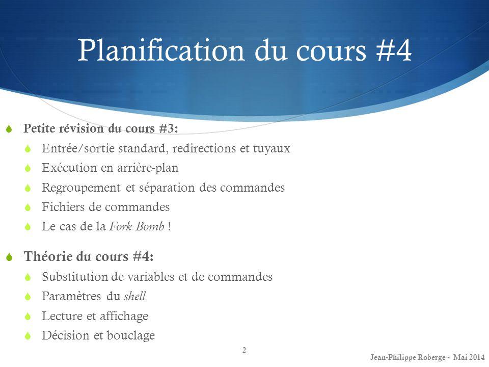 Planification du cours #4