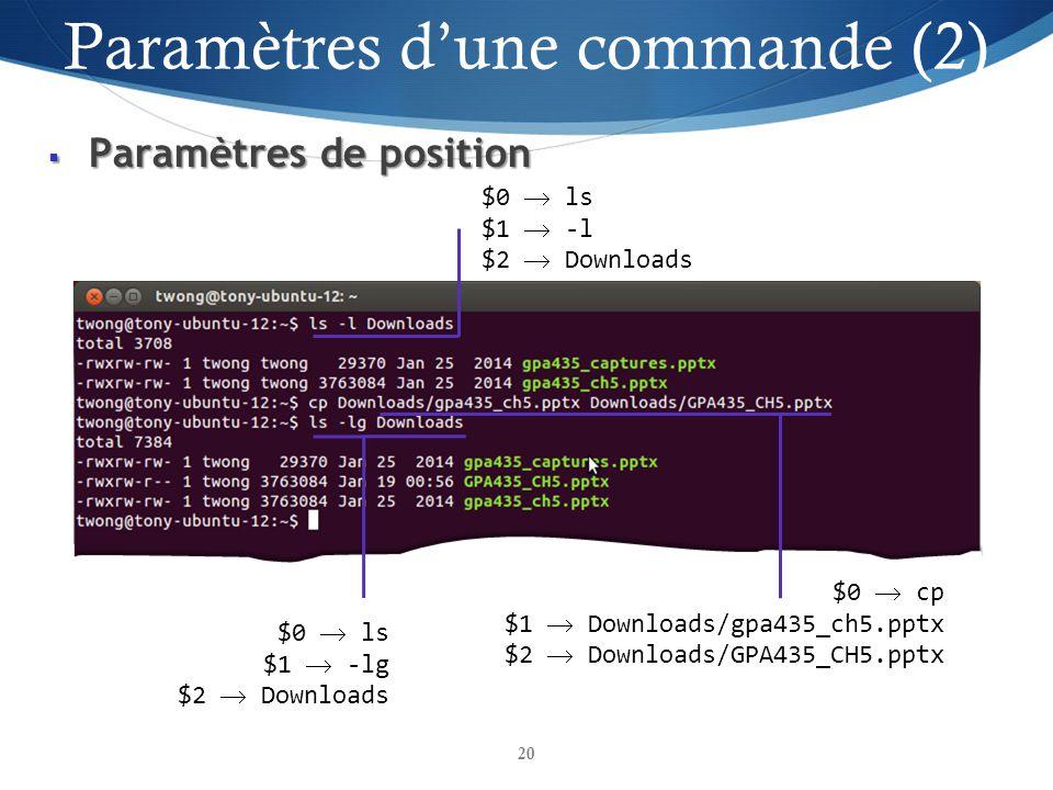 Paramètres d'une commande (2)
