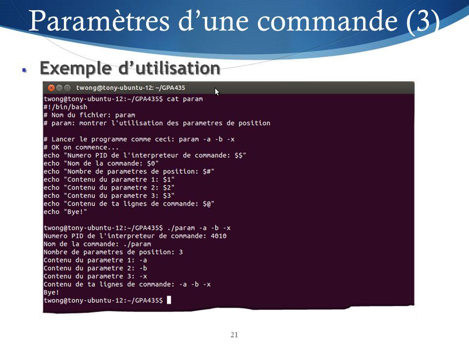 Paramètres d'une commande (3)