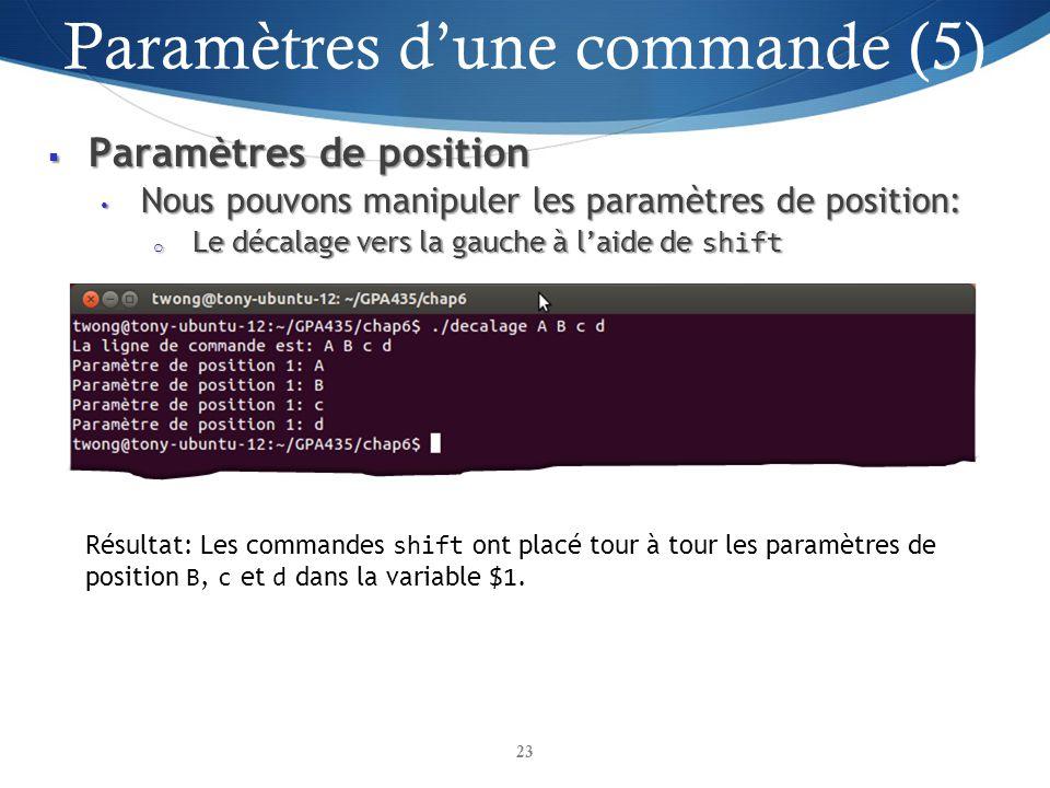 Paramètres d'une commande (5)
