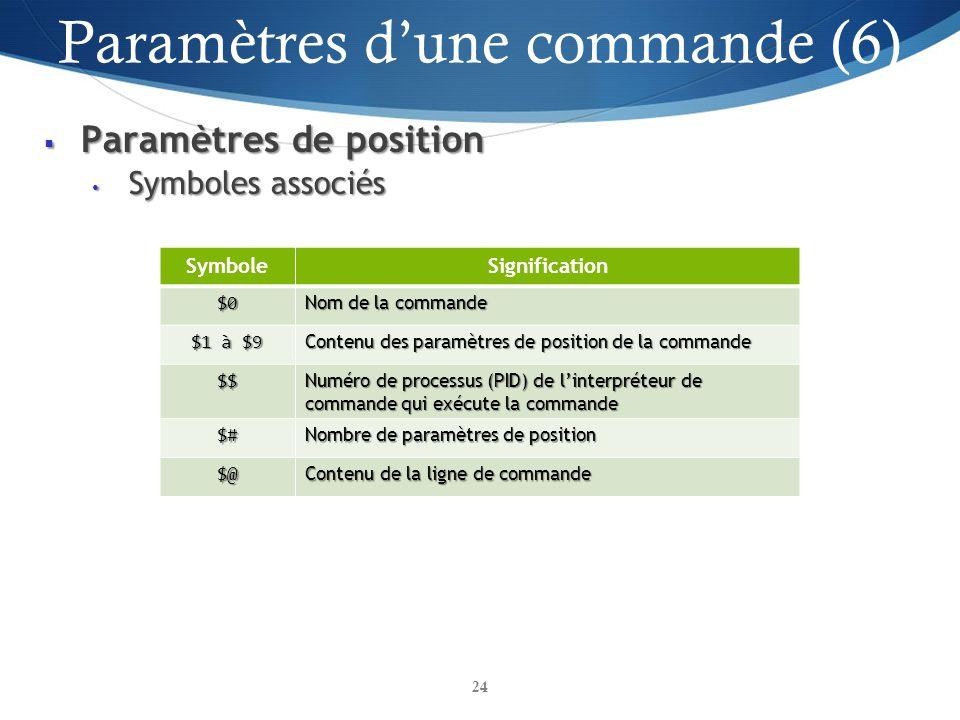 Paramètres d'une commande (6)