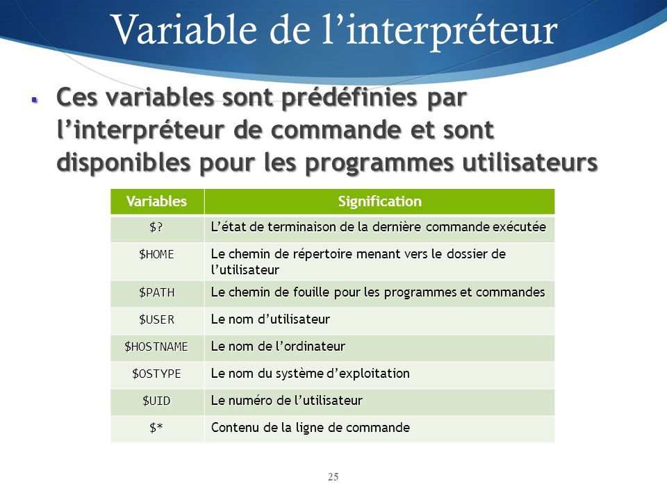 Variable de l'interpréteur
