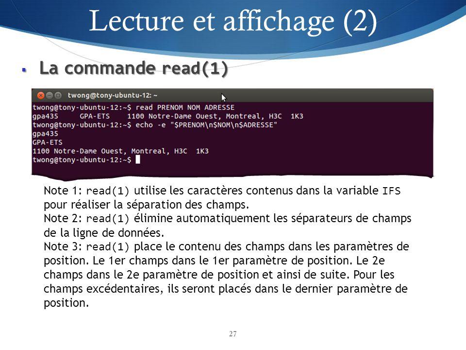 Lecture et affichage (2)