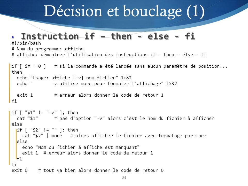 Décision et bouclage (1)