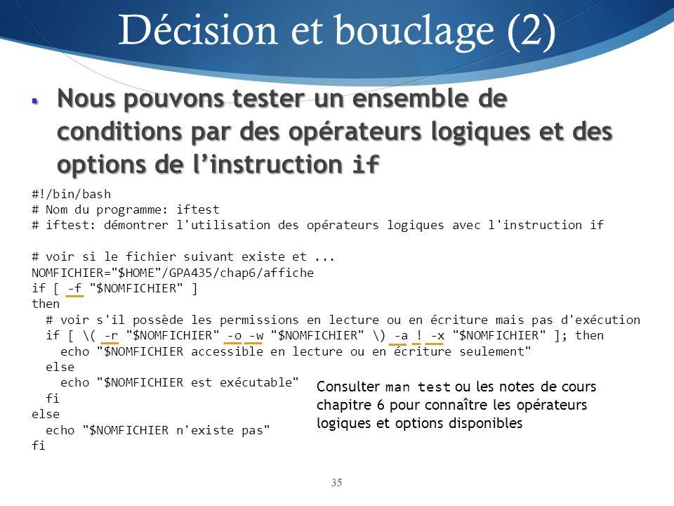 Décision et bouclage (2)
